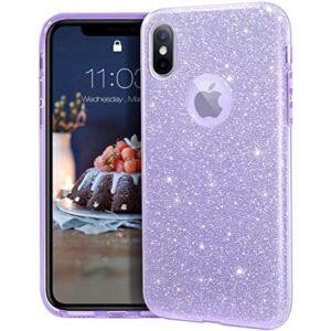 כיסוי שקוף קשיח נצנצים אייפון X סגול