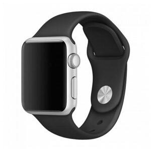 רצועת סיליקון לשעון אפל מידות 38/40 שחור מתאים למידות שעון 38/40 רצועה עשויה סיליקון נעים למגע קל לחיבור על גבי השעון אפל שלכם