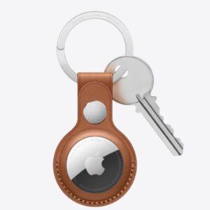 מחזיק מפתחות ל Apple Air Tag דמוי עור חום