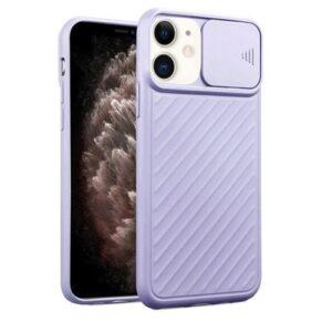 כיסוי סיליקון עם סליידר למצלמה אייפון 12 פרו סגול