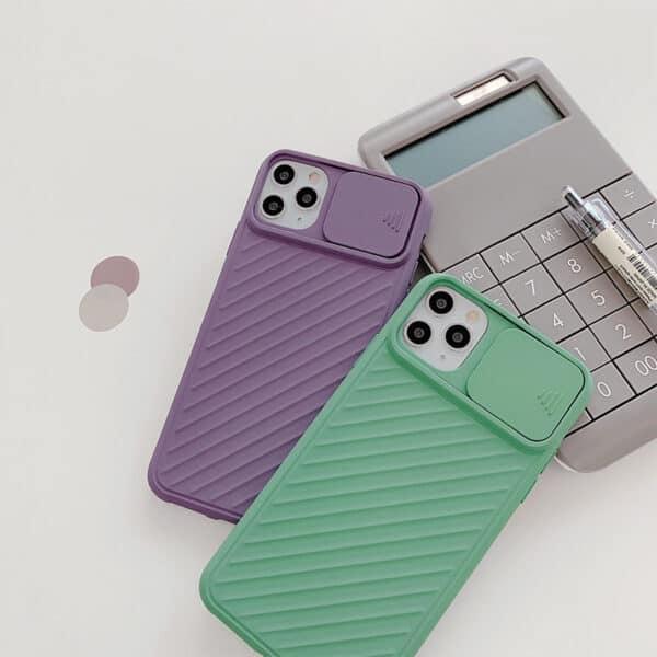 כיסוי סיליקון עם סליידר למצלמה אייפון 12 סגול